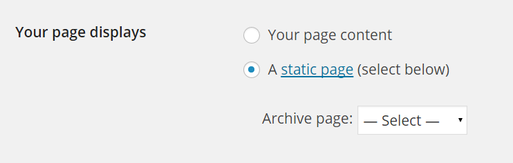 Static archive page
