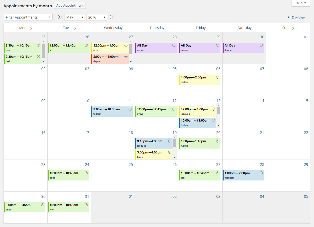 Admin Calendar for Appointments