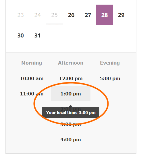 WC Appointments timezone conversion