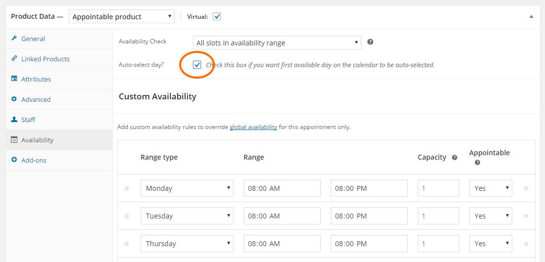 Auto-select options