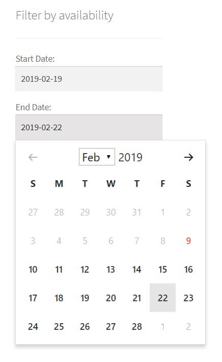 Availability Filter Calendar Picker