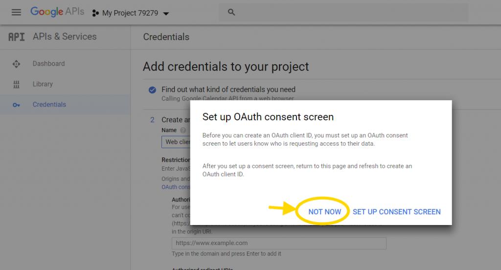 Google Calendar API skip consent
