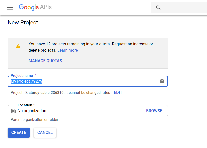 Google Calendar integration - name your project