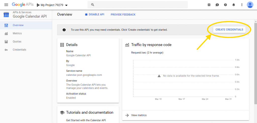 Create credentials for Google Calendar API