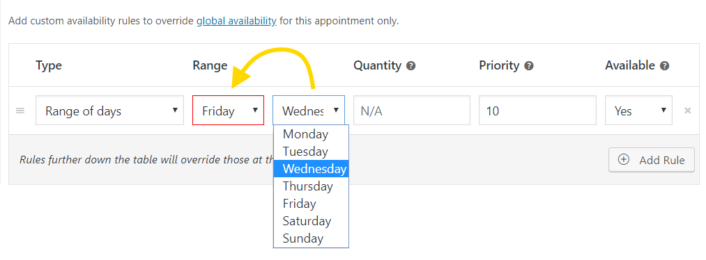Appointment availability rule validation