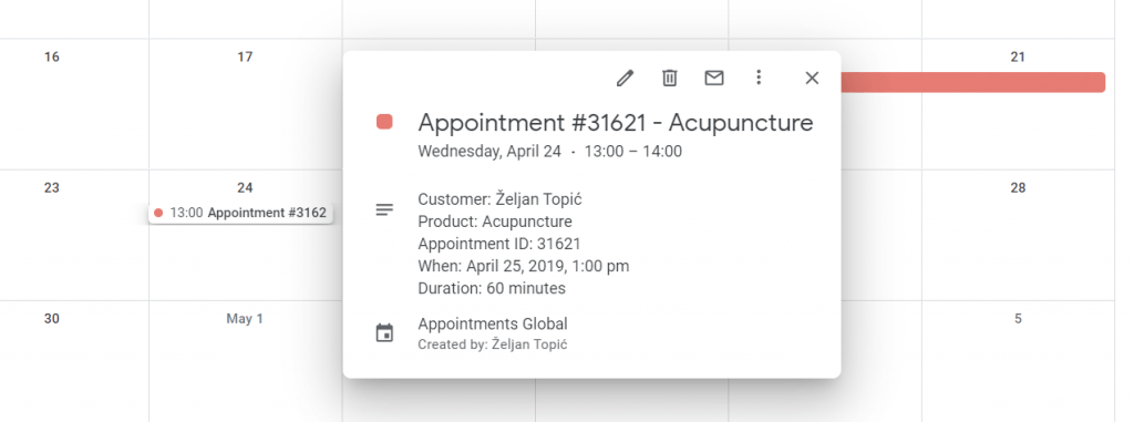 Apointment synchronized to Google Calendar