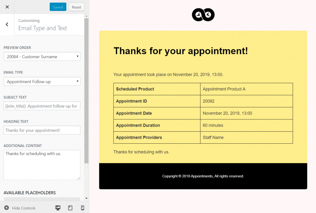 Customize appointment emails